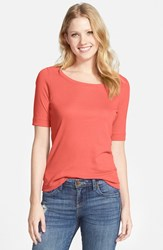 Petite Women's Caslon Ballet Neck Cotton And Modal Knit Elbow Sleeve Tee Coral Spice