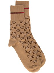 Gucci Gg Cotton Socks With Web Brown