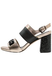 Jeannot Sandals Platino Nero Gold