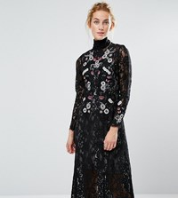 Hope And Ivy Midi Dress In Lace Embroidery Black Multi