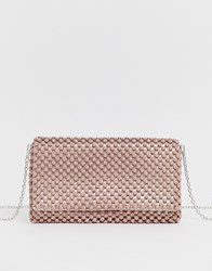 New Look Beaded Occasion Clutch In Light Pink Beige