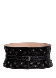 Azzedine Alaia Stud Floral Cutout Python Leather Corset Belt Black