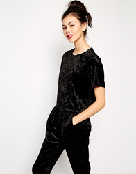 Monki Crushed Velvet T Shirt Black