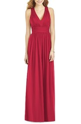 After Six Women's Crisscross Back Ruched Chiffon V Neck Gown Valentine