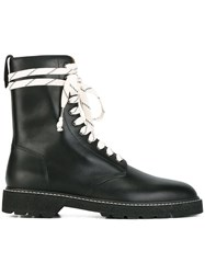 Maison Martin Margiela Lace Up Combat Boots Black