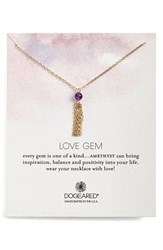 Women's Dogeared 'Love Gem' Tassel Chain Pendant Necklace Amethyst Gold