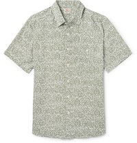 Faherty Printed Linen Blend Shirt Green