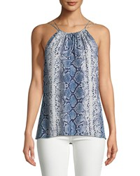 Ramy Brook Sleeveless Snake Print Silk Top Navy