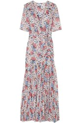 Veronica Beard Mick Wrap Effect Ruched Floral Print Silk Voile Maxi Dress Pink