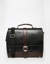 River Island Workbag With Buckle Front In Faux Leather Black