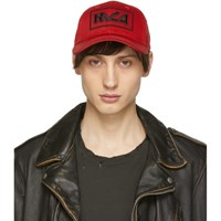 Mcq By Alexander Mcqueen Red Embroidered Metal Logo Cap