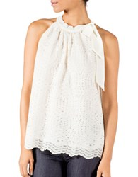 Banjara Sleeveless Lace Scalloped Tank White