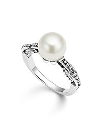 Lagos Sterling Silver Luna Cultured Freshwater Pearl Link Ring White Silver