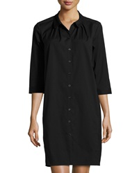 Lafayette 148 New York 3 4 Sleeve High Low Shirtdress Black