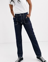 Pieces Straight Leg Jean With Contrast Stitching Blue
