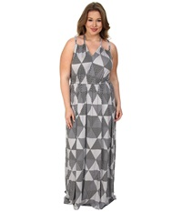 Rachel Pally Plus Plus Size Kiku Dress White Label Print Cement Hexagon Women's Dress Gray