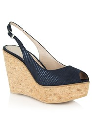 Daniel Aldwark Peep Toe Sling Back Wedges Navy