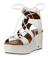 Carrano Chloe Leather Strappy Wedge Sandal White