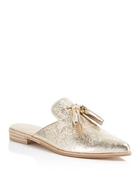Stuart Weitzman Slidealong Tasseled Mules Gold