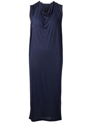 Isabel Benenato Draped Front Dress Blue