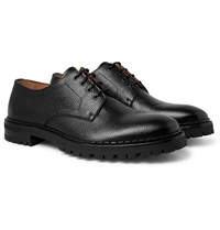 Lanvin Pebble Grain Leather Derby Shoes Black