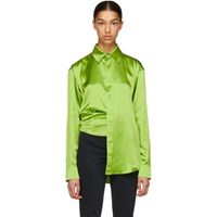 Martine Rose Green Asymmetric Silk Shirt