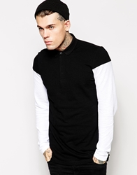 Asos Long Sleeve Polo Shirt With Contrast Sleeves Black
