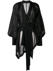 Ann Demeulemeester Embroidered Wrap Top Black