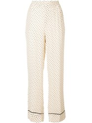 Ganni Dotted Print Trousers Neutrals