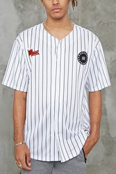 Forever 21 Patched Stripe Baseball Jersey White Black