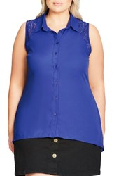City Chic Plus Size Women's Flirty Lace Shirt Cornflower