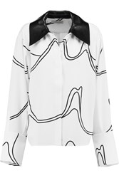J.W.Anderson Leather Trimmed Printed Crepe Shirt White