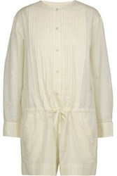 Etoile Isabel Marant Rodney Pintucked Cotton Broadcloth Playsuit Ecru