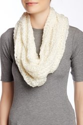 Nine West Chunky Boucle Knit Infinity Scarf White