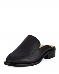 Neiman Marcus Ailey Napa Leather Slide Mule Black