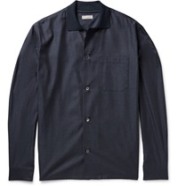 Margaret Howell Ribbed Collar Cotton Flannel Shirt Blue