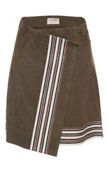 Zeus Dione Xylo Suede Wrap Skirt Brown