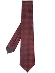 Emporio Armani Chevron Pattern Tie Red