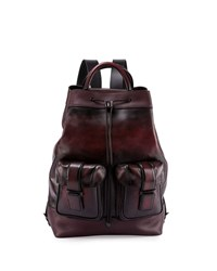 Berluti Horizon Drawstring Top Leather Backpack Black
