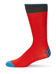 Saks Fifth Avenue Cotton Blend Mid Calf Socks Red