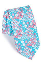 Men's Ted Baker London 'Swimsuit' Floral Cotton Tie Turquoise