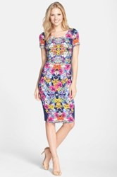 Felicity And Coco Print Stretch Cotton Body Con Dress Multi