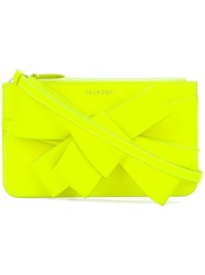 Delpozo Structured Bow Clutch Bag Yellow And Orange