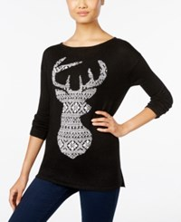 Styleandco. Style Co. Jacquard Deer Pattern Sweater Only At Macy's Deep Black Combo