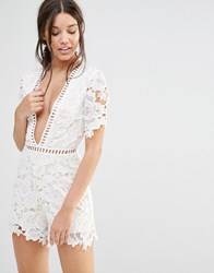 Missguided Misguided Lace Kimono Sleeve Playsuit White