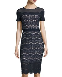 Jax Short Sleeve Lace Midi Dress Navy