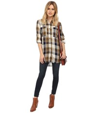 Only Inez Plaid Loose Fitting Long Shirt Golden Brown Women's Long Sleeve Button Up