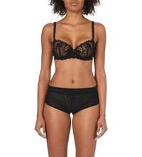 Simone Perele Wish Stretch Tulle And Lace Underwired Half Cup Bra Black