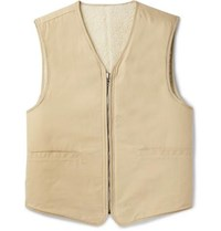 Our Legacy Reversible Cotton And Wool Blend Sherpa Gilet Beige