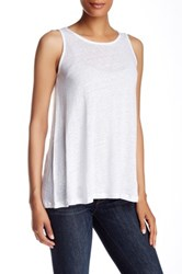 Cullen Sleeveless Lace Up Back Linen Tank White